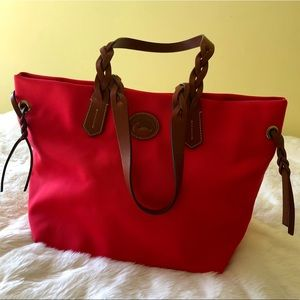 Dooney and Bourke Nylon Shopper Tote Bag, Red